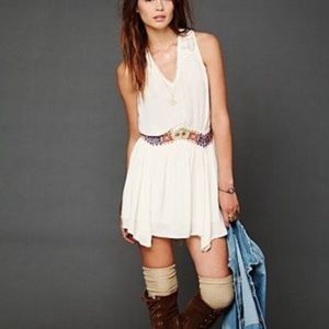 Free People natural Ethnic embroidered waist dress